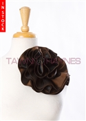 Tawni Haynes Circle Flower Pin (8 inch) -  Brown Two Tone Taffeta