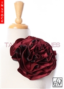 Tawni Haynes Circle Flower Pin (8 inch) -  Red & Black Two Tone Taffeta