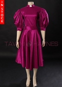 In Stock! Magenta Stretch Taffeta Clergy Swing Dress