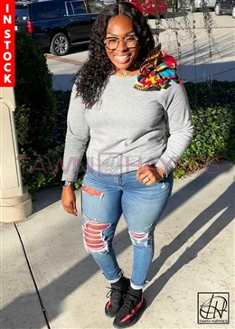 In-Stock! Ankara Embellished Crew Neck Sweatshirt - Gray