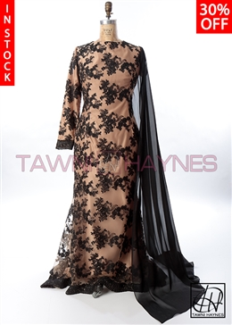 Champagne & Black Evening Gown
