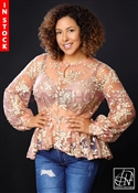 Tawni Haynes In Stock! Embroidered Beaded Net Peplum