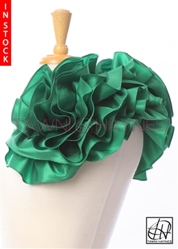 Tawni Haynes Extended Circle Flower Pin (19 inch) - Green Taffeta