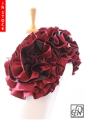 Tawni Haynes Extended Circle Flower Pin (19 inch) - Two Tone Burgundy & Black Taffeta