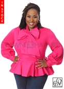 Tawni Haynes In Stock! Fuchsia Peplum Bow Blouse