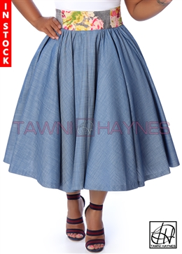 Tawni Haynes In-Stock Gathered High Waist Swing Skirt - Chambray Denim w/ Floral Denim Waist