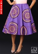 Tawni Haynes In-Stock Ankara African Print High Waist Swing Skirt - Purple & Peach Coral