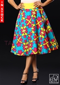 Tawni Haynes In-Stock Ankara African Print High Waist Swing Skirt - Turquoise, Yellow, & Red