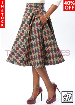 Tawni Haynes In-Stock Argyle Brocade High Waist Swing Skirt