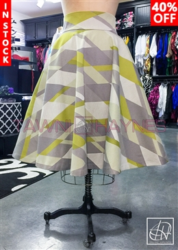 Tawni Haynes In-Stock Chevron Brocade High Waist Swing Skirt
