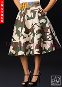 Tawni Haynes In-Stock High Waist Swing Skirt - Camo Cotton w/ Ankira African Striped Print Waistband