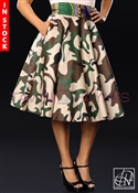Tawni Haynes In-Stock High Waist Swing Skirt - Camo Cotton w/ Ankira African Print Waistband