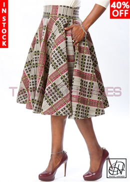 Tawni Haynes In-Stock Geometric Brocade High Waist Swing Skirt
