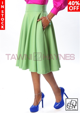 Tawni Haynes In-Stock Striped Brocade High Waist Swing Skirt