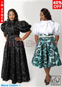 Tawni Haynes In-Stock High Waist Swing Skirt in Damask Taffeta