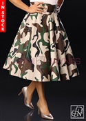 Tawni Haynes In-Stock High Waist Swing Skirt Knee Length -  Camo Cotton Denim