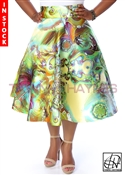 Tawni Haynes In-Stock High Waist Swing Skirt Knee Length - Mikado Wisteria Print