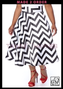 Tawni Haynes In-Stock High Waist Swing Skirt Knee Length - Poly Satin Black & White Striped Print