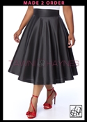 Tawni Haynes In-Stock High Waist Swing Skirt Knee Length - Black Taffeta