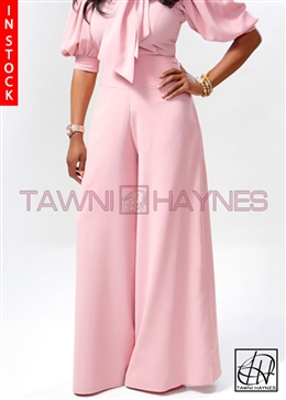 Tawni Haynes In-Stock High Waist Crepe Wide-Leg Slacks