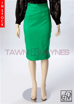 Tawni Haynes In-Stock Kelly Green Stretch Taffeta Pencil Skirt