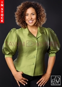 In-Stock! Olive Poly Dupioni Blouse