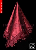 Tawni Haynes Lap Scarf - Burgundy Stretch Taffeta with Beaded Lace