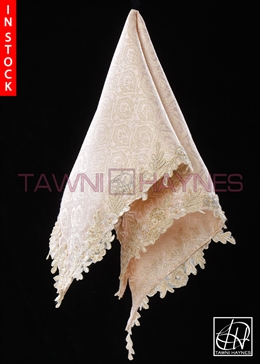 Tawni Haynes Lap Scarf - Champagne Metallic Jacquard With Beaded Lace