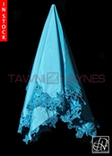 Tawni Haynes Cyan Poly Satin With Beaded Lace