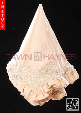 Tawni Haynes Lap Scarf - Champagne Stretch Taffeta with Beaded Lace Detail