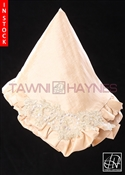 Tawni Haynes Lap Scarf - Champagne Stretch Taffeta with Corner Beaded Lace Detail