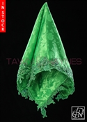 Tawni Haynes Lap Scarf - Green Jacquard With Beaded Lace