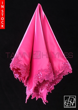 Tawni Haynes Hot Pink Poly Satin With Beaded Lace