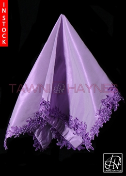 Tawni Haynes Purple Poly Satin With Beaded Lace