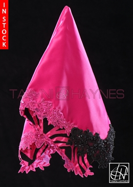 Tawni Haynes Lap Scarf - Fuchsia Zebra Poly Satin With Beaded Lace Detail