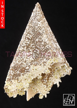 Tawni Haynes Lap Scarf - Gold Sequin With Gold Beaded Lace
