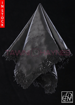 Tawni Haynes Lap Scarf - Black Taffeta With Beaded Lace Detail
