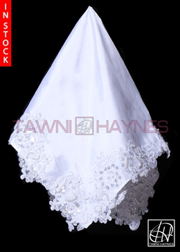 Tawni Haynes Lap Scarf - White Poly Dupioni with Beaded Lace & Rhinestones