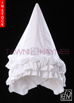 Tawni Haynes Lap Scarf - White Stretch Cotton with 3D Flowers