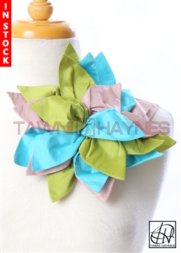 Tawni Haynes Mixed Petal Flower Pin (10 inch) - Olive/Mauve/Turquoise Poly Dupioni & Silk