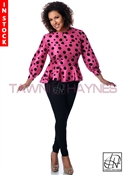 Tawni Haynes In-Stock Pink with Black Polka Dots Peplum Blouse