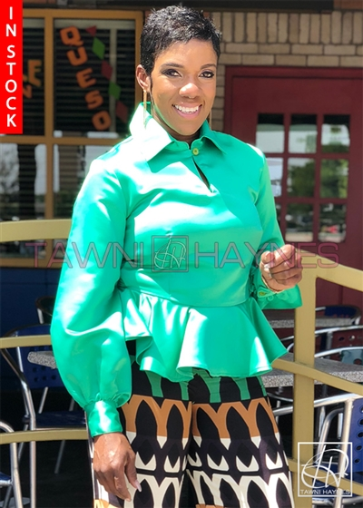 Tawni Haynes In-Stock Mint Poly Satin Peplum Blouse