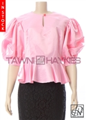 Tawni Haynes In-Stock Poly Satin Peplum Blouse