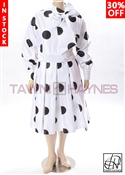 Tawni Haynes In-Stock Pleated Bow Dress in Polka-Dot Poly Satin