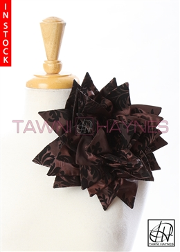 Tawni Haynes Petal Flower Pin (10 inch) - Brown Black Damask Taffeta
