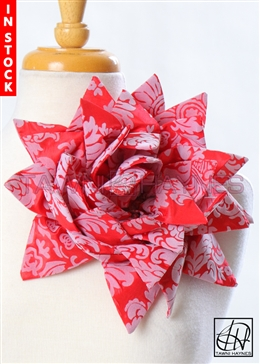 Tawni Haynes Petal Flower Pin (10 inch) - Red Grey Damask Taffeta