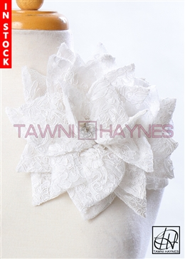 Tawni Haynes Petal Flower Pin (10 inch) - White French Lace