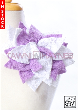 Tawni Haynes Petal Flower Pin (11 inch) - White/Purple French Lace
