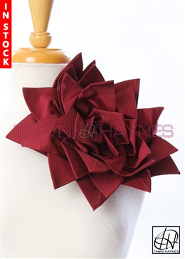 Tawni Haynes Petal Flower Pin (10 inch) - Burgundy Stretch Cotton