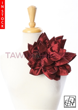 Tawni Haynes Petal Flower Pin (10 inch) - Burgundy Stretch Taffeta